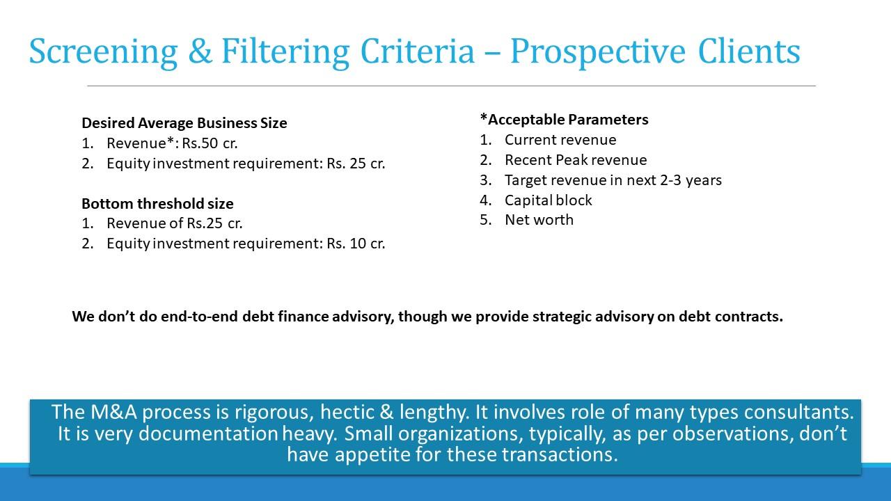 Revenue valuation deal size criteria for M&A client selection
