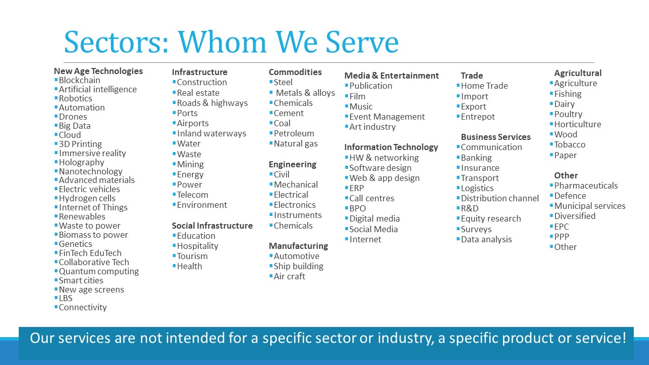 Sectors we serve with M&A equity